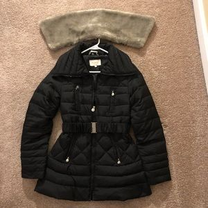 LAUNDRY by SHELLI SEGAL Puffer Coat with Fur Trim